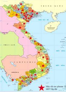 Bản đồ lắp máy MEV – máy cắt MEV có mặt trên 45 tỉnh thành trên cả nước